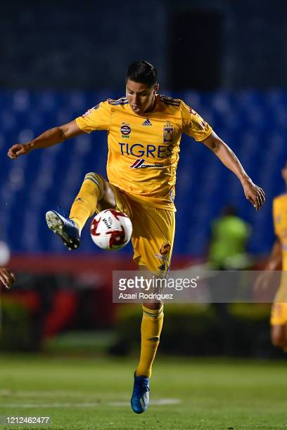 Hugo Ayala of Tigres controls the ball during the 10th round match between Tigres UANL and FC Juarez as part of the Torneo Clausura 2020 Liga MX at...