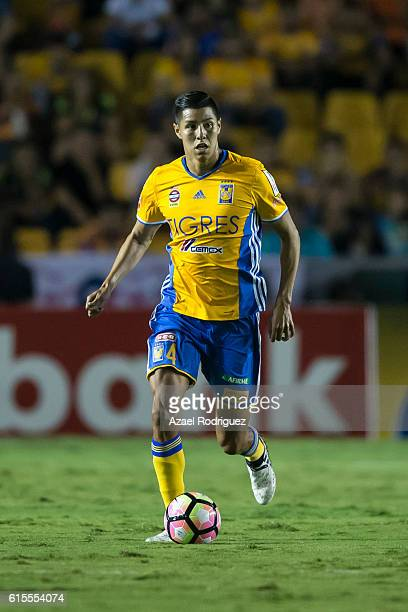 Hugo Ayala of Tigres drives the ball during a match between Tigres UANL and Herediano as part of the CONCACAF Champions League 2016/17 at...