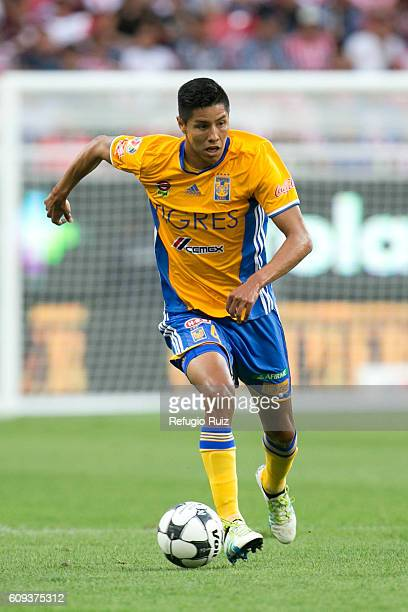 Hugo Ayala of Tigres drives the ball during the 10th round match between Chivas and Tigres as part of the Torneo Apertura 2016 Liga MX at Chivas...