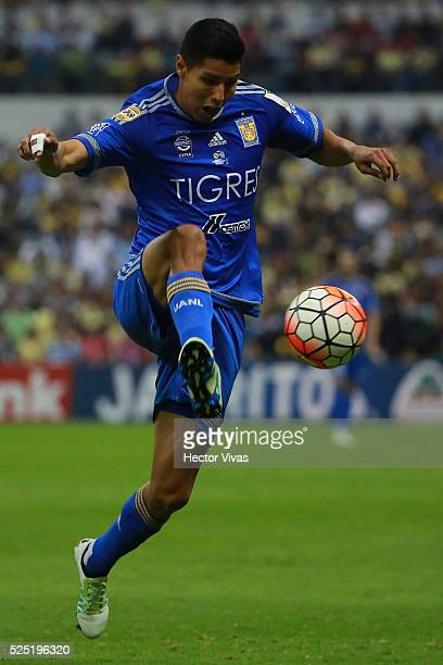 Hugo Ayala of Tigres drives the ball during the Final second leg match between America and Tigres UANL as part of the Concacaf Champions League 2016...