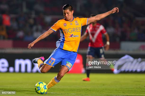 Hugo Ayala of Tigres kicks the ball during the 7th round match between Veracruz and Chiapas as part of the Torneo Clausura 2017 Liga MX at Luis...