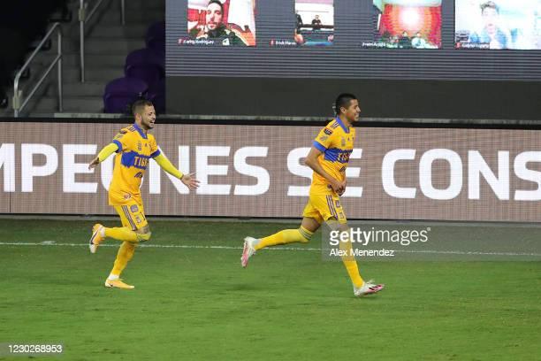 Hugo Ayala of Tigres UANL and Nicolas Lopez of Tigres UANL celebrate a goal during the CONCACAF Champions League final game against Los Angeles FC at...
