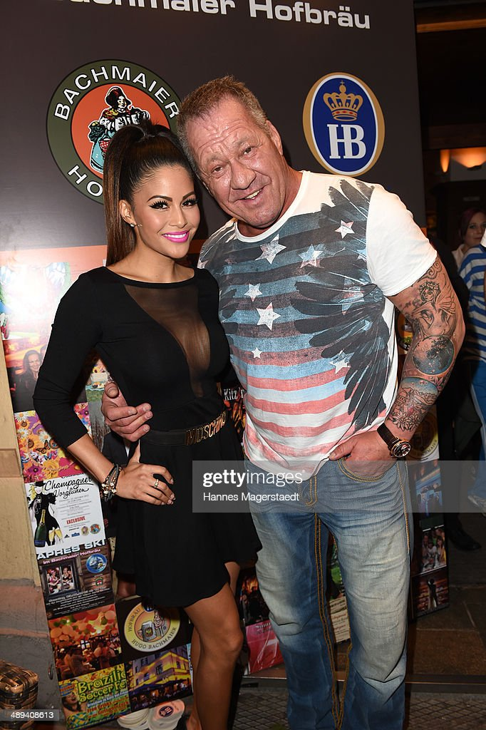 Hugo Bachmaier and Playmate Mia Gray attend 9 Years Anniversary Bachmaier Hofbraeu at Bachmaier Hofbraeu on May 10, 2014 in Munich, Germany.