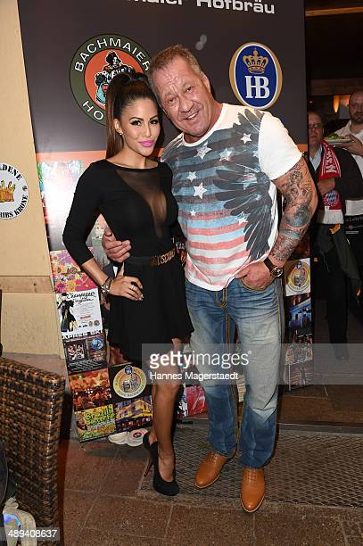 Hugo Bachmaier and Playmate Mia Gray attend 9 Years Anniversary Bachmaier Hofbraeu at Bachmaier Hofbraeu on May 10 2014 in Munich Germany