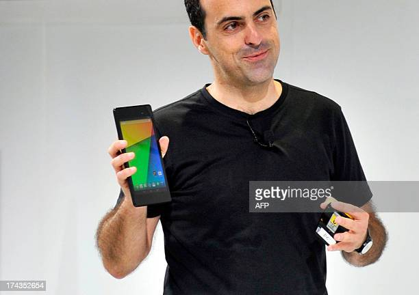 Hugo Barra Vice President Android Product Management at Google displays a new Asus Nexus 7 tablet during a media event at Dogpatch Studios on July 24...