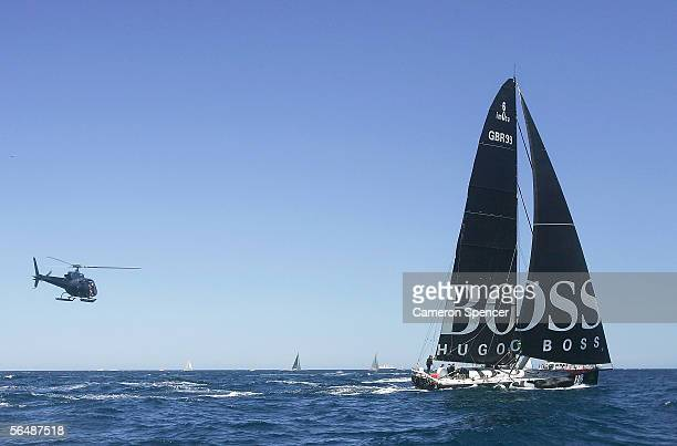 Hugo Boss in action following the start of the 61st Sydney to Hobart yacht race outside Sydney Harbour December 26, 2005 in Sydney, Australia. A...