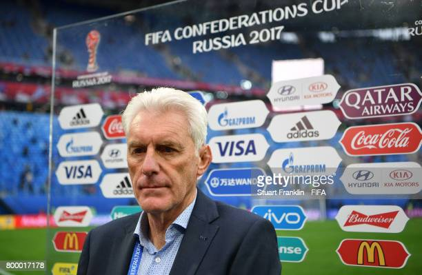 Hugo Broos head coach of Cameroon looks on during an interview after the FIFA Confederation Cup Group B match between Cameroon and Australia at Saint...