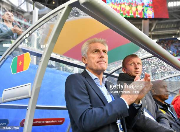Hugo Broos head coach of Cameroon looks on during the FIFA Confederation Cup Group B match between Cameroon and Australia at Saint Petersburg Stadium...