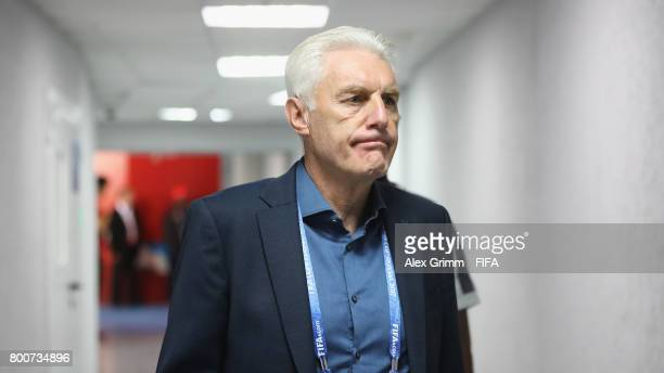 Hugo Broos head coach of of Cameroon arrives at the stadium prior to the FIFA Confederations Cup Russia 2017 Group B match between Germany and...