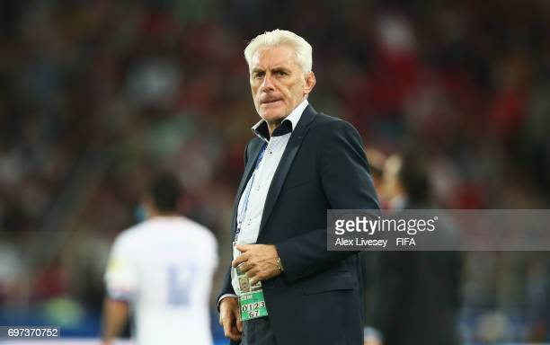 Hugo Broos head coach of of Cameroon looks on during the FIFA Confederations Cup Russia 2017 Group B match between Cameroon and Chile at Spartak...
