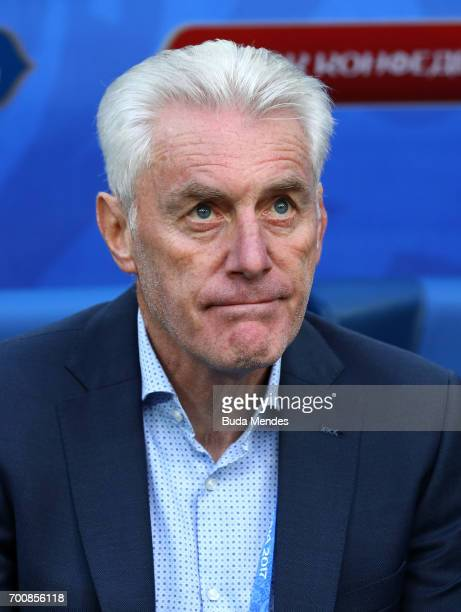 Hugo Broos head coach of of Cameroon looks on during the FIFA Confederations Cup Russia 2017 Group B match between Cameroon and Australia at Saint...