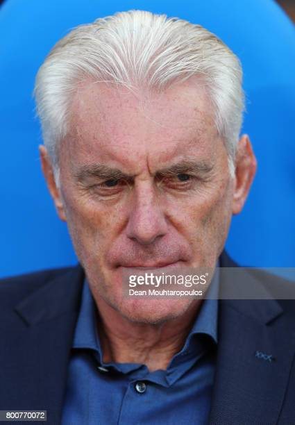 Hugo Broos head coach of of Cameroon looks on prior to the FIFA Confederations Cup Russia 2017 Group B match between Germany and Cameroon at Fisht...