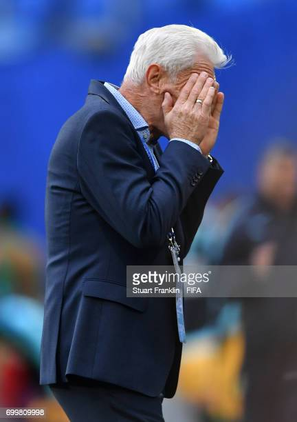Hugo Broos head coach of of Cameroon reacts during the FIFA Confederations Cup Russia 2017 Group B match between Cameroon and Australia at Saint...