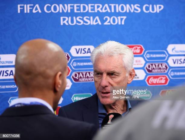 Hugo Broos head coach of of Cameroon speaks to the media after the FIFA Confederations Cup Russia 2017 Group B match between Germany and Cameroon at...