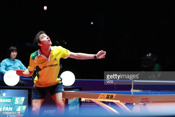 Hugo Calderano of Brazil competes in the Men's Singles Quarterfinals against Fan Zhendong of China during day three of the 2018 ITTF World Tour Grand...
