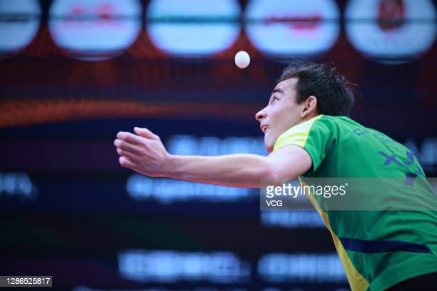 Hugo Calderano of Brazil competes in the Men's Singles Round of 16 match against Liam Pitchford of England on day one of the 2020 ITTF Finals at...
