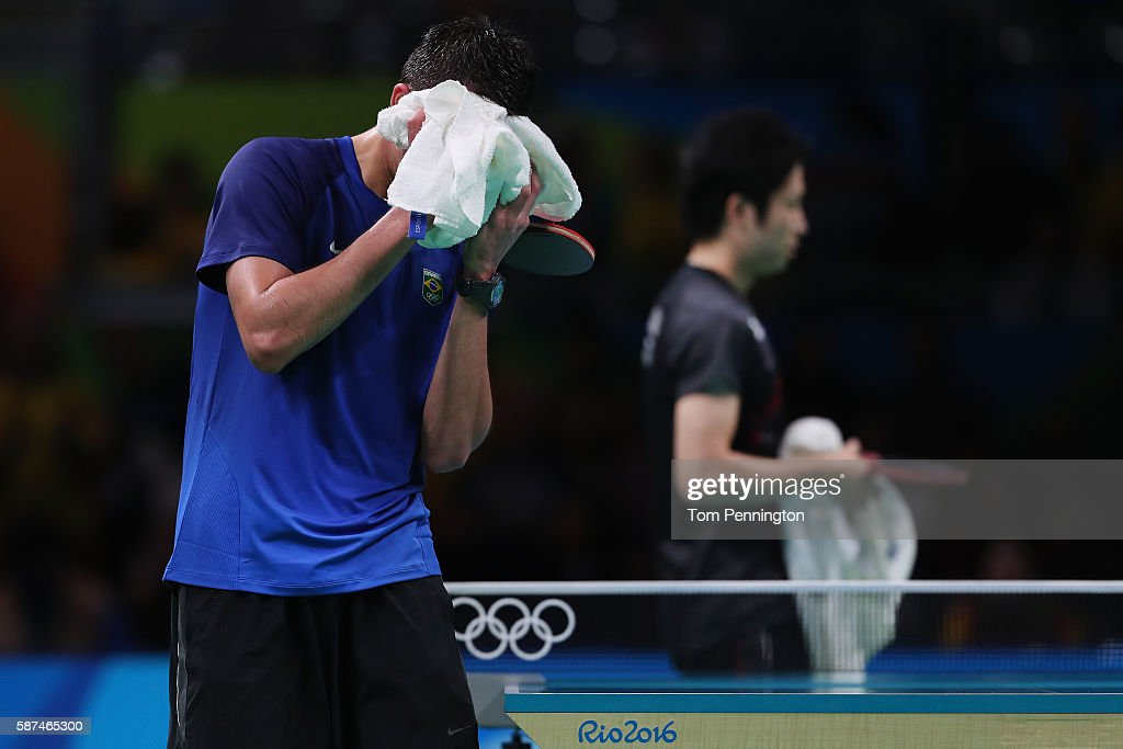 Hugo Calderano of Brazil reacts after being beat by Jun Mizutani of Japan during Round 4 of the Men's Singles Table Tennis on Day 3 of the Rio 2016 Olympic Games at Riocentro - Pavilion 3 on August 8, 2016 in Rio de Janeiro, Brazil.
