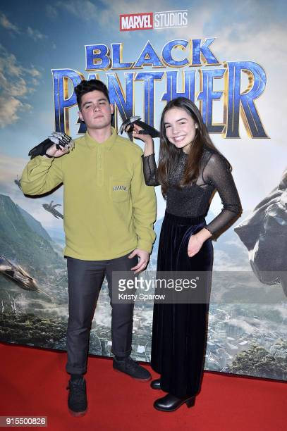 Hugo Chalan and Clara Quilichini attends the 'Black Panther' Paris Special Screening at Le Grand Rex on February 7 2018 in Paris France