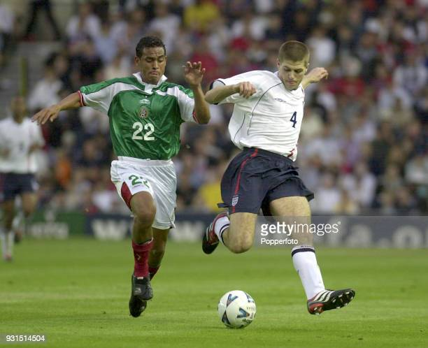 Hugo Chavez of Mexico and Steven Gerrard of England in action during the International Friendly match between England and Mexico at Pride Park in...