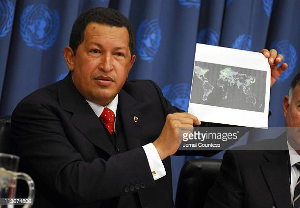 Hugo Chavez President of Venezuela during a press conference at the United Nations in New York City on September 20 2006