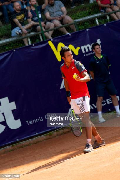 Hugo Dellien during match between Hugo Dellien and Martin Cuevas during day 3 at the Internazionali di Tennis Citt dell'Aquila in L'Aquila, Italy, on...