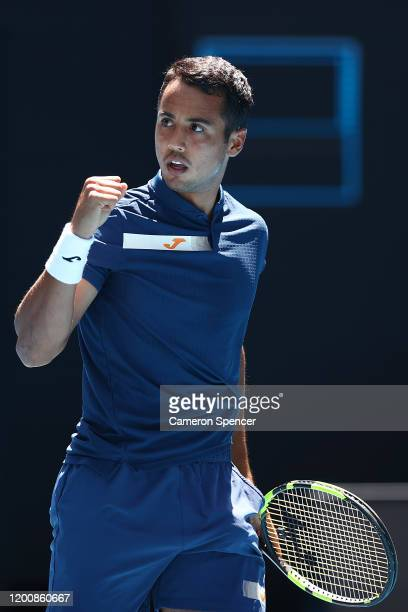 Hugo Dellien of Bolivia celebrates after winning a point during his Men's Singles first round match against Rafael Nadal of Spain on day two of the...