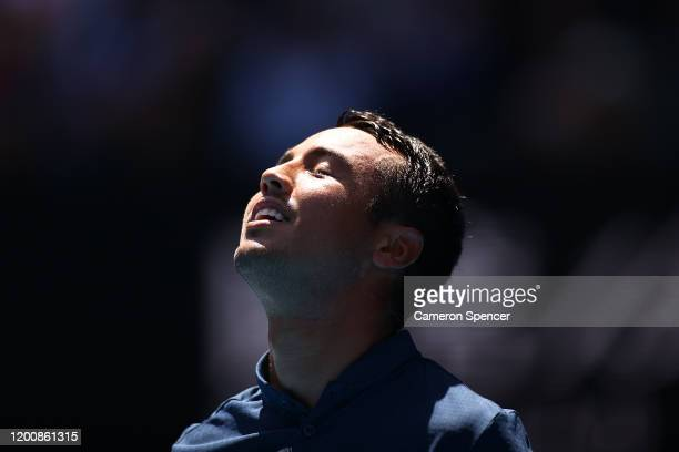 Hugo Dellien of Bolivia looks on during his Men's Singles first round match against Rafael Nadal of Spain on day two of the 2020 Australian Open at...