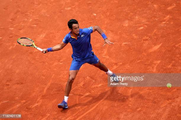 Hugo Dellien of Bolivia plays a forehand during his mens singles second round match against Stefanos Tsitsipas of Greece during Day four of the 2019...
