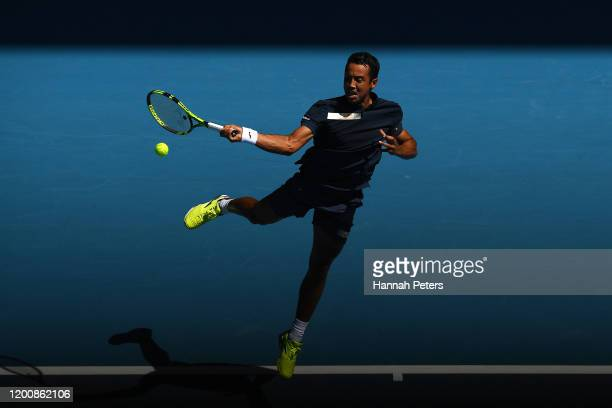 Hugo Dellien of Bolivia plays a forehand during his Men's Singles first round match against Rafael Nadal of Spain on day two of the 2020 Australian...