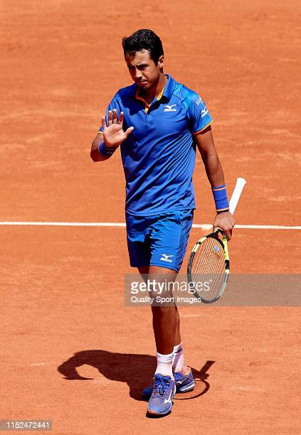 Hugo Dellien of Bolivia reacts in his mens singles second round match against Stefanos Tsitsipas of Greece during Day four of the 2019 French Open at...