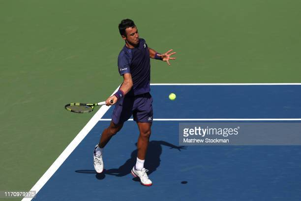 Hugo Dellien of Bolivia returns a shot during his Men's Singles second round match against Daniil Medvedev of Russia on day four of the 2019 US Open...