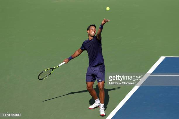 Hugo Dellien of Bolivia serves the ball during his Men's Singles second round match against Daniil Medvedev of Russia on day four of the 2019 US Open...