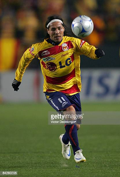 Hugo Droguett of Morelia looks to play the ball during their InterLiga match against Pachuca FC at The Home Depot Center on January 8 2009 in Carson...