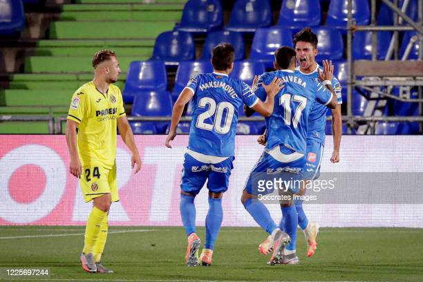 Hugo Duro of Getafe celebrates 11 with Nemanja Maksimovic of Getafe Xabier Etxeitia of Getafe during the La Liga Santander match between Getafe v...