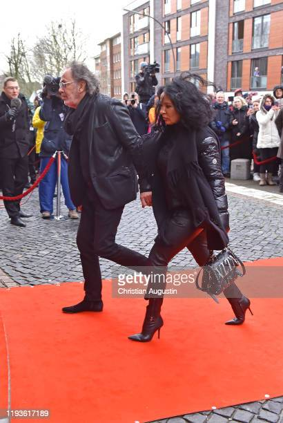Hugo Egon Balder and girlfriend Elena during the memorial service for Jan Fedder at Hamburger Michel on January 14 2020 in Hamburg Germany German...