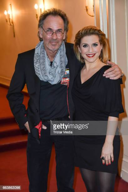 Hugo Egon Balder and Jeanette Biedermann attend the 'Aufguss' Premiere at Theatre Kurfuerstendamm on April 2 2017 in Berlin Germany