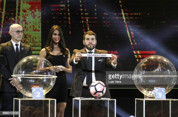Hugo Figueredo Director of Competitions of CONMEBOL announces Universitario of Peru during the Official Draw of the Copa Libertadores and...