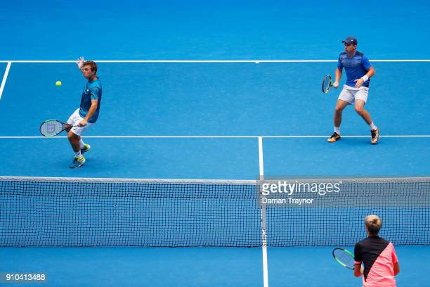 Hugo Gaston of France of France and Clement Tabur compete in the boy's doubles final against Rudolf Molleker of Germany and Henri Squire of Germany...