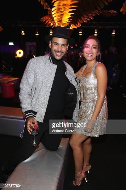 Hugo Gloss and Anitta attends the MTV EMAs 2018 after show party at Bilbao Exhibition Centre on November 4 2018 in Bilbao Spain