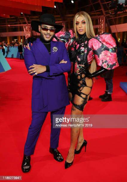 Hugo Gloss and Pabllo Vittar attends the MTV EMAs 2019 at FIBES Conference and Exhibition Centre on November 03 2019 in Seville Spain