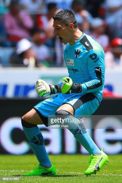 Hugo Gonzalez goalkeeper of Monterrey celebrates after the first goal of his team during the 14th round match between Toluca and Monterrey as part of...