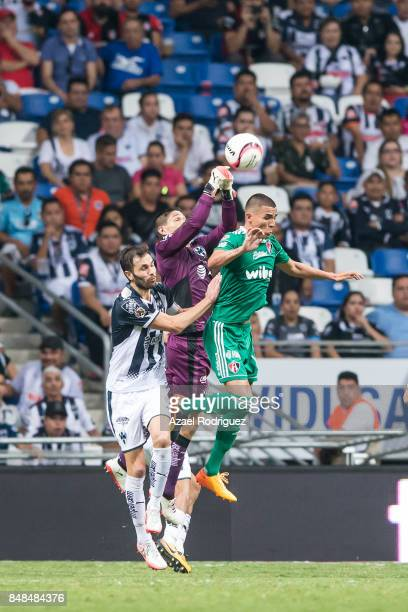Hugo Gonzalez goalkeeper of Monterrey rejects the ball during the 9th round match between Monterrey and Atlas as part of the Torneo Apertura 2017...