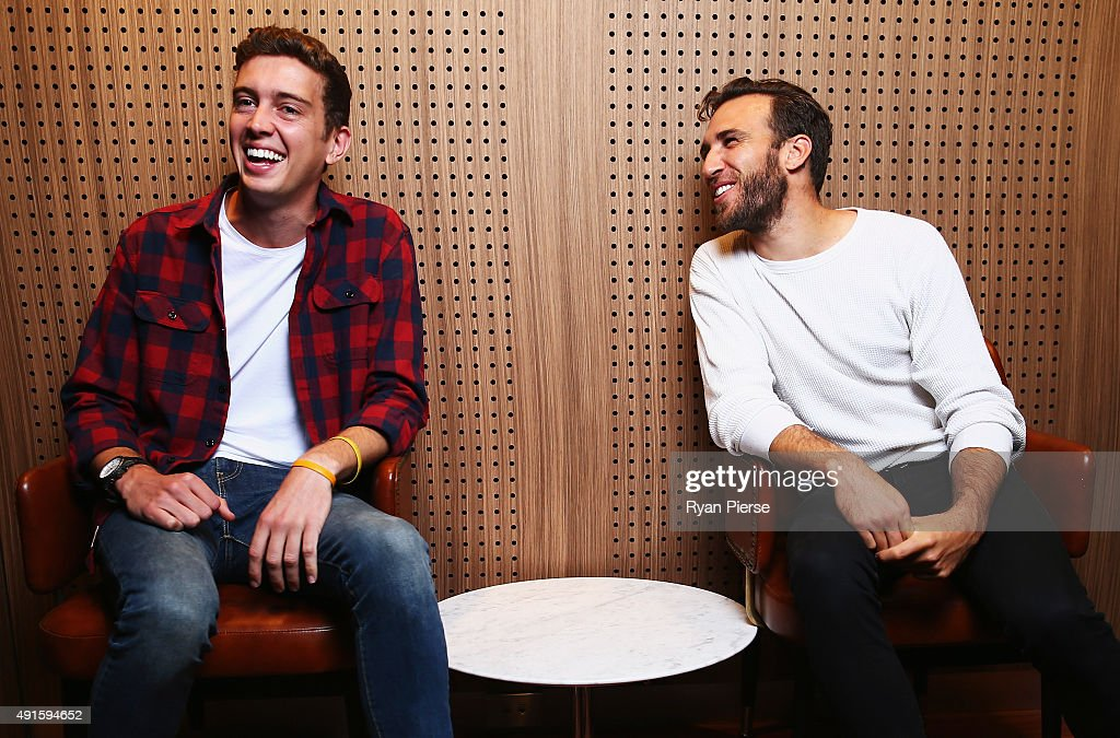 Hugo Gruzman and James Lyell of Flight Facilities pose at the 29th Annual ARIA Nominations Event on October 7, 2015 in Sydney, Australia.
