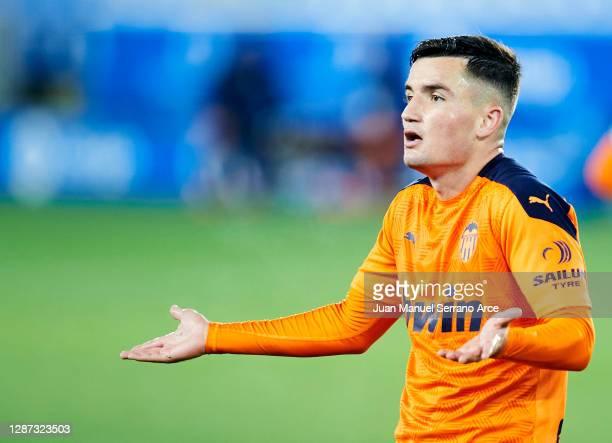 Hugo Guillamon of Valencia CF reacts during the LaLiga Santander match between Alaves and Valencia on November 22 2020 in VitoriaGasteiz Spain