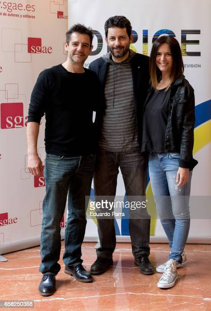 Hugo Hortelano Manue Rios San Martin and Eva Santolaria attend the 'Dirige' photocall at Longoria palace on March 27 2017 in Madrid Spain