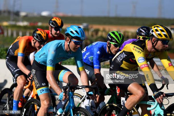 Hugo Houle of Canada and Astana Pro Team / Carmelo Urbano of Spain and Team Caja Rural - Seguros RGA Blue Best Bonus Sprint Jersey / Bert-Jan...