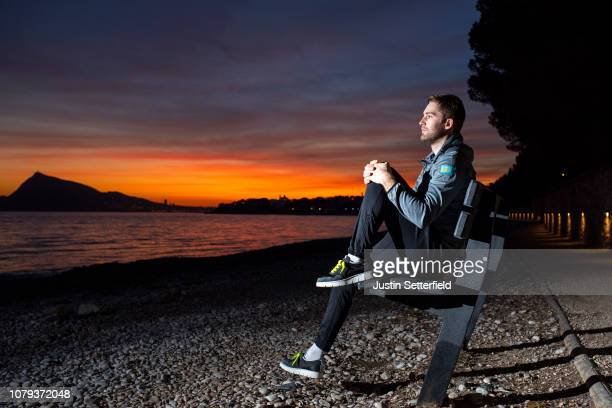 Hugo Houle of Canada and Astana Pro Team / Panchic shoes / Sea / Sunset / Landscape / on December 18, 2018 in Altea, Spain.