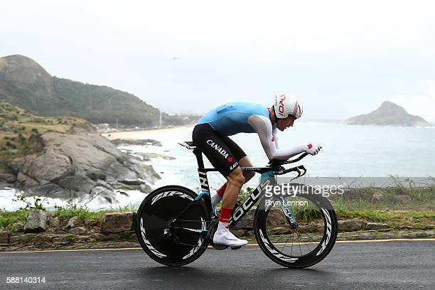 Hugo Houle of Canada competes in the Cycling Road Men's Individual Time Trial on Day 5 of the Rio 2016 Olympic Games at Pontal on August 10, 2016 in...