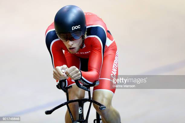 Hugo Jones of Canterbury competes in the Elite Men 4000m Individual Pursuit during the New Zealand Track Cycling Championships on February 21 2018 in...