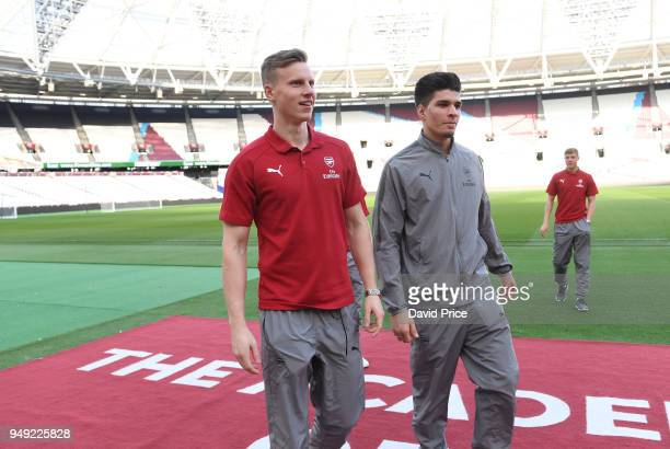 Hugo Keto and Joao Virginia of Arsenal before the match between West Ham United and Arsenal at London Stadium on April 20 2018 in London England